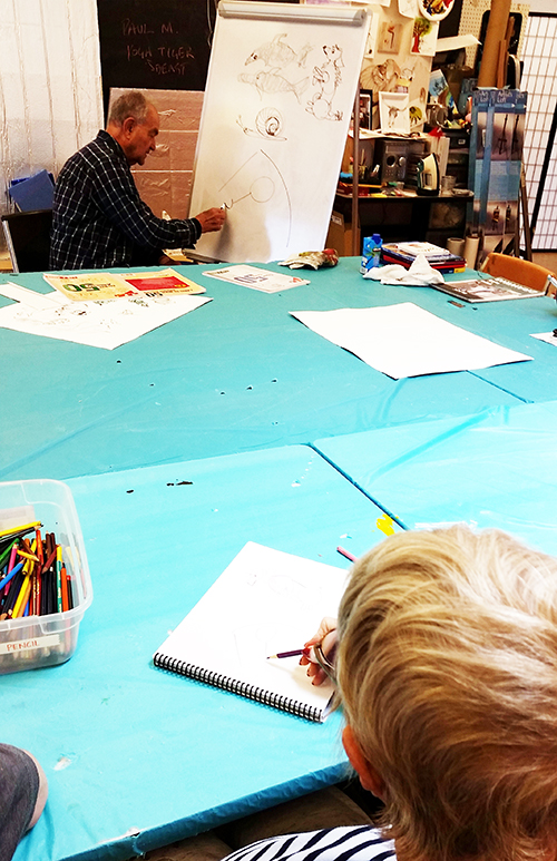 Artist Paul Miller leading drawing class photo