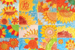 Photo of sunflower artwork collage
