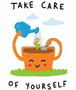 "Cartoon flower pot with ""Take Care of Yourself"" written around it"