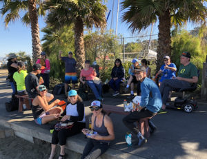 Photo of kayakers eating lunch