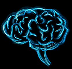 image of glowing blue brain on black background