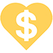 Dollar Sign In Heart Icon