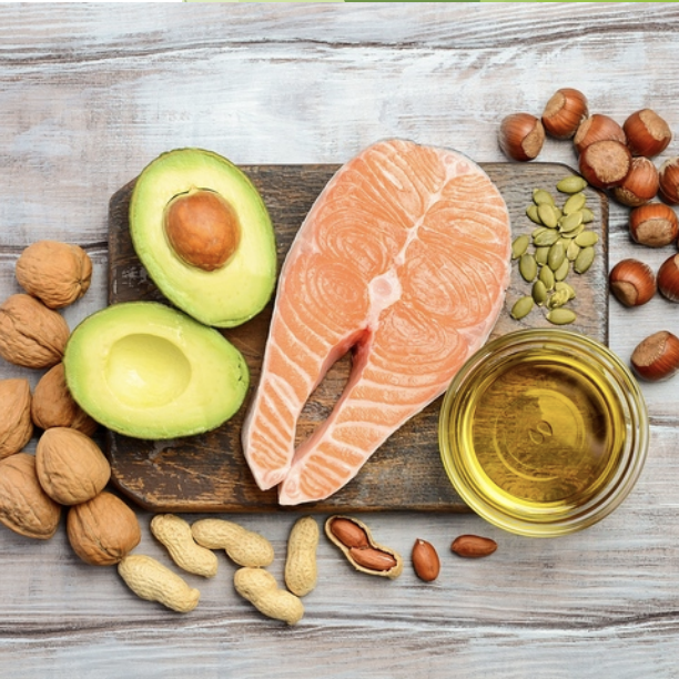photo of avocado, salmon and nuts