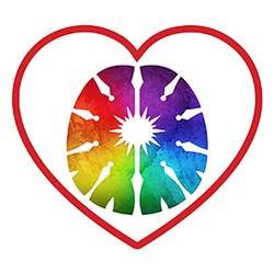 rainbow heart inside heart outline